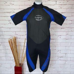 Deep See Men's Shorty Wetsuit Black Blue